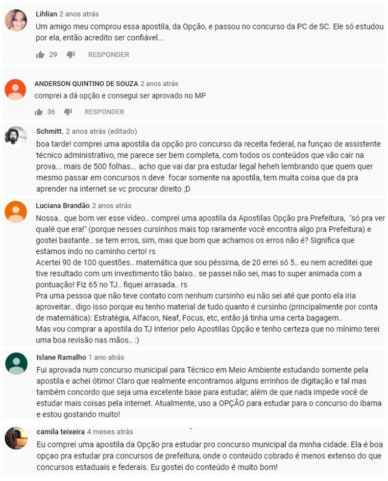 Comentários sobre a Apostila Opção