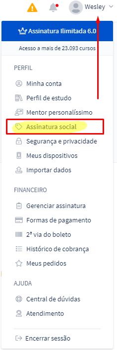 Opção Assinatura Social na Área do Aluno