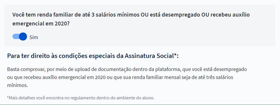 Opção para selecionar a Assinatura Social
